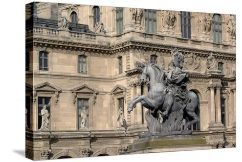 Equestrian Statue of King Louis XIV (1638-1715) in Cour Napoleon (Napoleon Courtyard) of Louvre Pal--Stretched Canvas Print