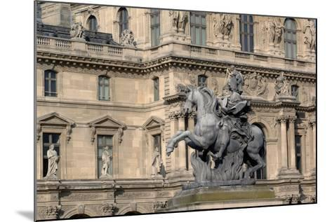 Equestrian Statue of King Louis XIV (1638-1715) in Cour Napoleon (Napoleon Courtyard) of Louvre Pal--Mounted Photographic Print