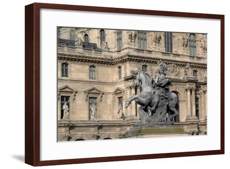 Equestrian Statue of King Louis XIV (1638-1715) in Cour Napoleon (Napoleon Courtyard) of Louvre Pal--Framed Art Print