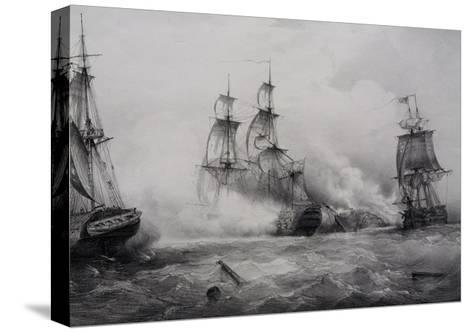 Fighting Between British and American Third-Rate Sailing Ships with 74 Guns--Stretched Canvas Print