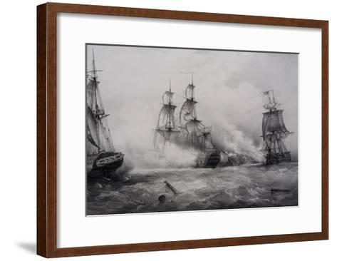 Fighting Between British and American Third-Rate Sailing Ships with 74 Guns--Framed Art Print