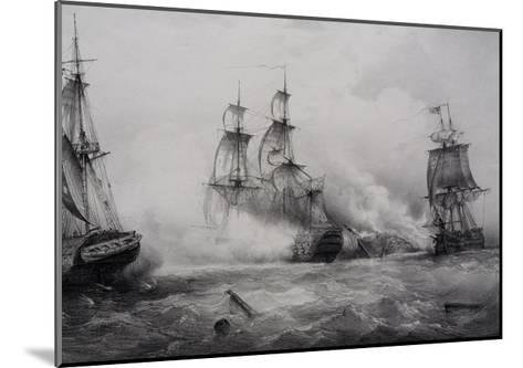 Fighting Between British and American Third-Rate Sailing Ships with 74 Guns--Mounted Giclee Print