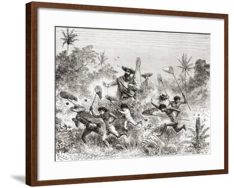Édouard François André Catching Butterflies in Villavicencio--Framed Art Print