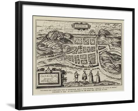 Fac-Simile of a Bird'S-Eye View of Edinburgh--Framed Art Print