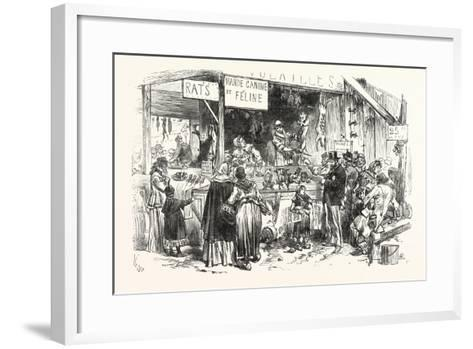 Franco-Prussian War: on the Market of St. Germain. at the Dogs and Cats Butcher. Fresh Rats--Framed Art Print