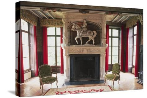 Fireplace with Statue of Jehan III of Estourmel--Stretched Canvas Print