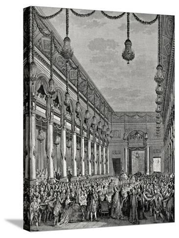 Engraving of Royal Banquet at Hotel De Ville--Stretched Canvas Print