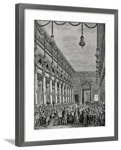 Engraving of Royal Banquet at Hotel De Ville--Framed Art Print