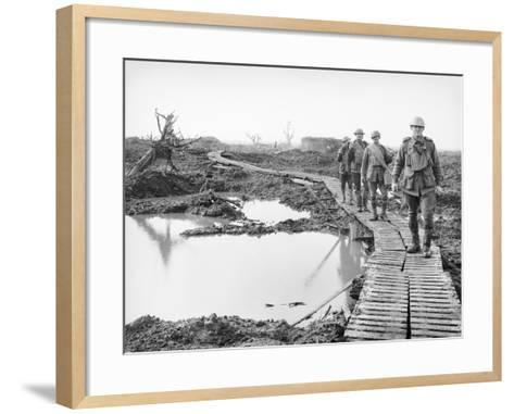 Four Australian Soldiers Walking Along the Duckboard Track at Tokio--Framed Art Print