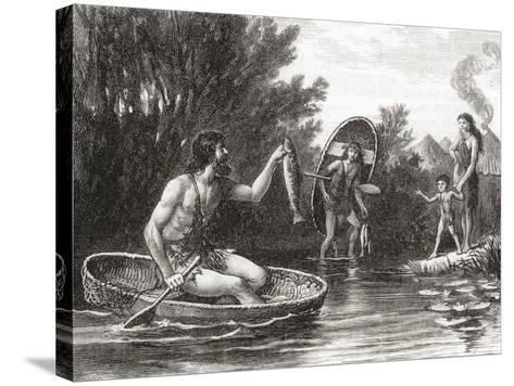 Early Briton Fishing from a Coracle--Stretched Canvas Print