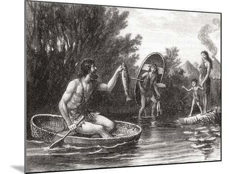 Early Briton Fishing from a Coracle--Mounted Giclee Print
