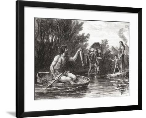 Early Briton Fishing from a Coracle--Framed Art Print