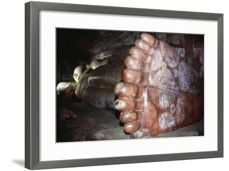 Feet of Reclining Buddha in Cave of Divine King in Dambulla (Unesco World Heritage List--Framed Art Print
