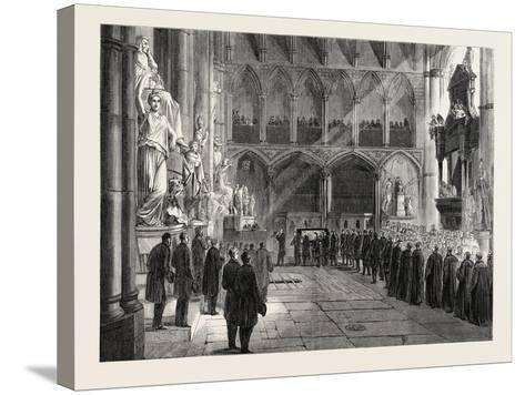 Funeral of Lord Palmerston: the Procession to the Grave in the Interior of Westminster Abbey--Stretched Canvas Print