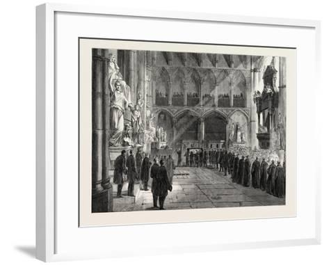 Funeral of Lord Palmerston: the Procession to the Grave in the Interior of Westminster Abbey--Framed Art Print