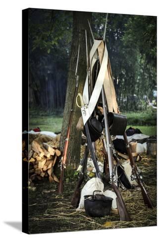 Historical Reenactment: Bundle of Muzzle-Loading Flintlock Rifles--Stretched Canvas Print