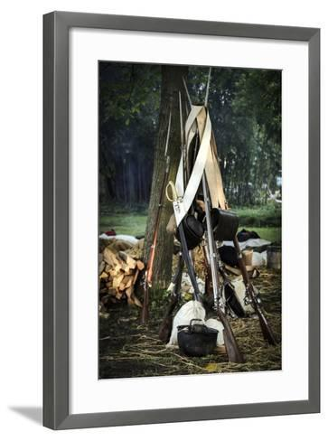 Historical Reenactment: Bundle of Muzzle-Loading Flintlock Rifles--Framed Art Print