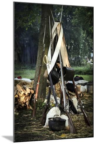 Historical Reenactment: Bundle of Muzzle-Loading Flintlock Rifles--Mounted Photographic Print