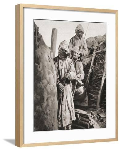 French Infantrymen During WWI Wearing Respirators to Protect Them Against German Poison Gas--Framed Art Print