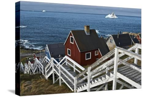 Group of Houses with Wooden Staircase--Stretched Canvas Print