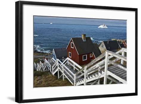 Group of Houses with Wooden Staircase--Framed Art Print