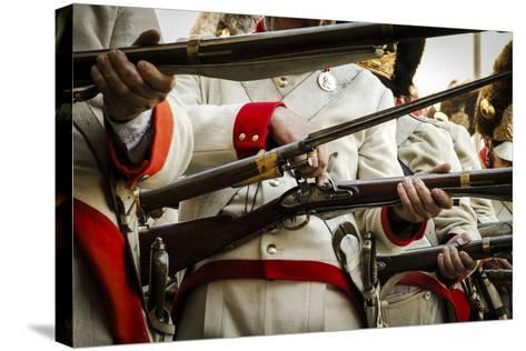 Historical Reenactment: Austrian Imperial Soldiers Loading Muzzle-Loading Flintlock Rifles--Stretched Canvas Print