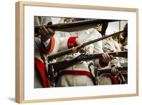 Historical Reenactment: Austrian Imperial Soldiers Loading Muzzle-Loading Flintlock Rifles--Framed Art Print