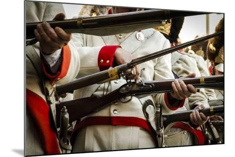 Historical Reenactment: Austrian Imperial Soldiers Loading Muzzle-Loading Flintlock Rifles--Mounted Photographic Print