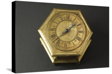 Hexagonal-Shaped Horizontal Table Clock Inserted in Glass and Brass Case--Stretched Canvas Print