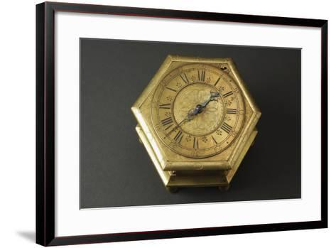 Hexagonal-Shaped Horizontal Table Clock Inserted in Glass and Brass Case--Framed Art Print