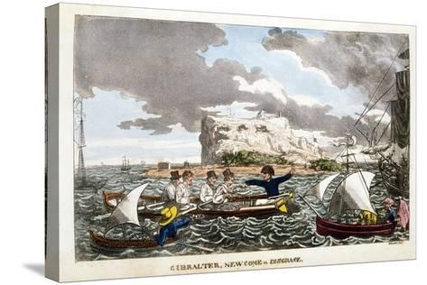 Gibraltar: Newcome in Disgrace Plate from 'The Adventures of Johnny Newcome in the Navy' by John Mi--Stretched Canvas Print
