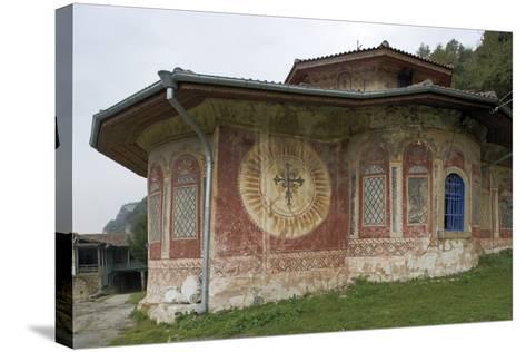 Frescoes on the Facade of the Church of the Transfiguration Monastery (Preobrazenski Manastir)--Stretched Canvas Print