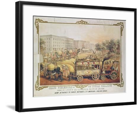 Grand Procession of the Steam Calliope Drawn by a Team of Six Elephants in the City of New York--Framed Art Print