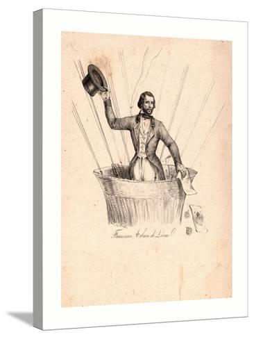 Half-Length Portrait of French Balloonist Francesco Arban Standing in the Basket of a Balloon--Stretched Canvas Print