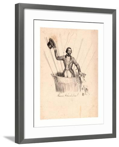 Half-Length Portrait of French Balloonist Francesco Arban Standing in the Basket of a Balloon--Framed Art Print