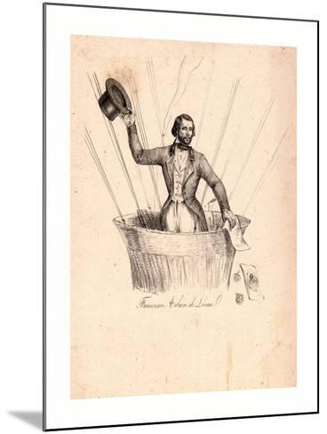 Half-Length Portrait of French Balloonist Francesco Arban Standing in the Basket of a Balloon--Mounted Giclee Print