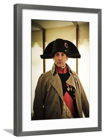 Historical Reenactment: Napoleon Bonaparte in His Field Tent at Waterloo--Framed Art Print