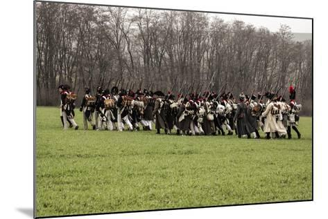 Historical Reenactment: Napoleon's Troops Marching Towards Austerlitz--Mounted Photographic Print