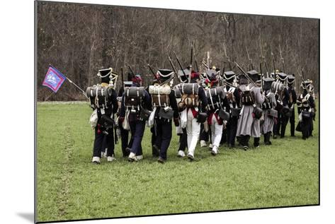 Historical Reenactment: Napoleon's Troops Marching Towards Austerlitz--Mounted Photographic Print