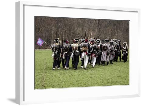 Historical Reenactment: Napoleon's Troops Marching Towards Austerlitz--Framed Art Print