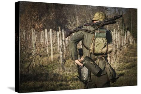 Historical Reenactment: Wehrmacht Soldier with Mg34 Machine Gun (Maschinengewehr 34)--Stretched Canvas Print
