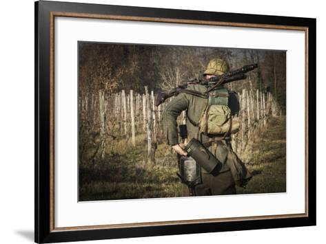 Historical Reenactment: Wehrmacht Soldier with Mg34 Machine Gun (Maschinengewehr 34)--Framed Art Print