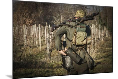 Historical Reenactment: Wehrmacht Soldier with Mg34 Machine Gun (Maschinengewehr 34)--Mounted Photographic Print