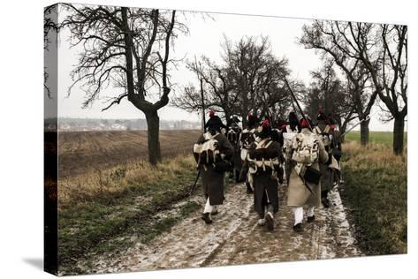 Historical Reenactment: Napoleon's Troops Marching Towards Austerlitz--Stretched Canvas Print