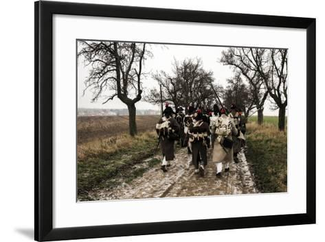 Historical Reenactment: Napoleon's Troops Marching Towards Austerlitz--Framed Art Print