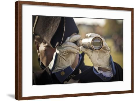 Historical Reenactment: Officer in Napoleon's Army Using Telescope to View Enemy Troop Positions--Framed Art Print
