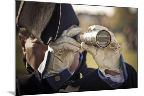 Historical Reenactment: Officer in Napoleon's Army Using Telescope to View Enemy Troop Positions--Mounted Photographic Print