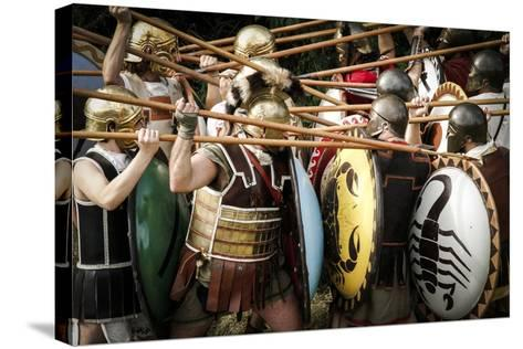 Historical Reenactment: Fighting Between Athenian Hoplites (Armed Infantry Soldiers) and Spartans--Stretched Canvas Print