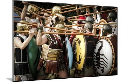 Historical Reenactment: Fighting Between Athenian Hoplites (Armed Infantry Soldiers) and Spartans--Mounted Photographic Print