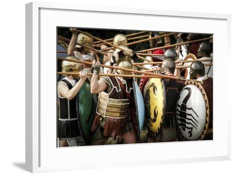 Historical Reenactment: Fighting Between Athenian Hoplites (Armed Infantry Soldiers) and Spartans--Framed Art Print